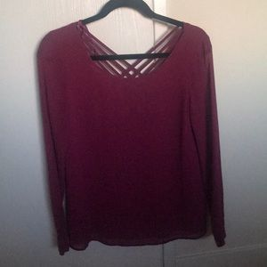 Tobi Burgundy Long Sleeve Blouse